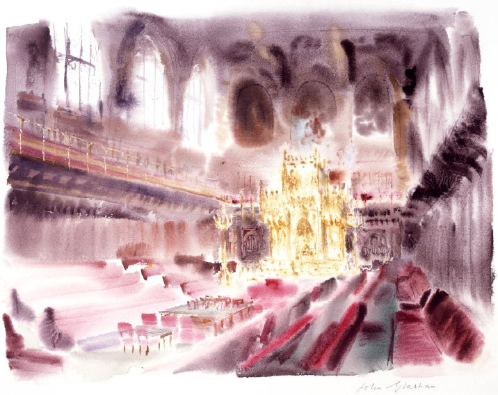 Painting of Peers Chamber, House of Lords, by John Glashan